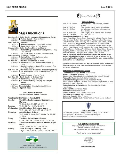 Mass Intentions - Holy Spirit Catholic Church