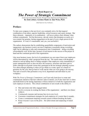 Book Report - The Power of Strategic Commitment - Gary Tomlinson