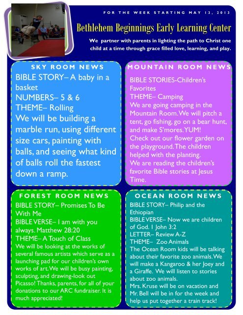 May 13 newsletter - Bethlehem Lutheran School