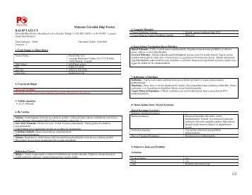 Malzeme Güvenlik Bilgi Formu KALIP YAĞI CT - Petrol Ofisi