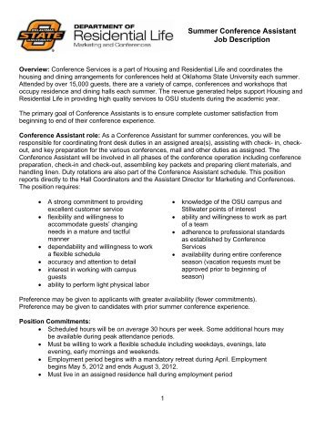 2013 Summer Office Assistant/Resident Assistant Job Description