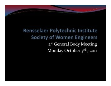 2st General Body Meeting Monday October 3rd , 2011 - Society of ...