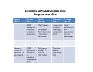 EURORDIS SUMMER SCHOOL 2010 Programme