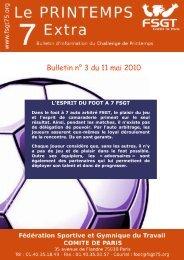 Bulletin n° 3 du 11 mai 2010 - Challenge - FSGT