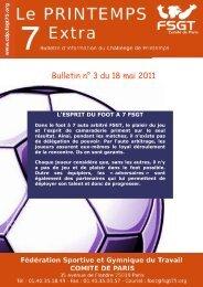 Bulletin n° 3 du 18 mai 2011 - Le challenge du Printemps FSGT