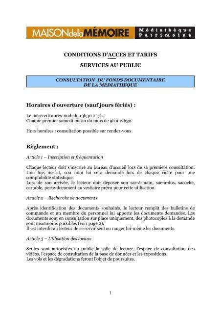 CONDITIONS D'ACCES ET TARIFS SERVICES ... - Mémoire Alpine
