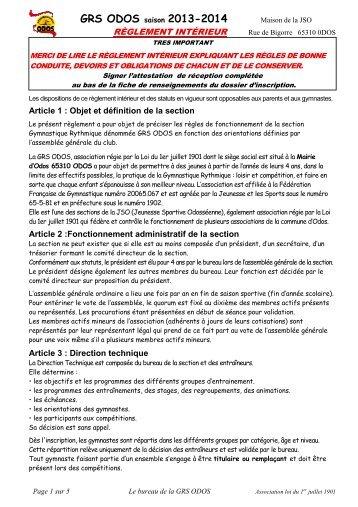Réglement intérieur - GRS Odos - Free