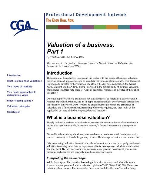 Valuation Of A Business Part 1 Pd Net