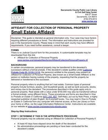 Small Estate Affidavit Affidavit For Collection Of Personal Property