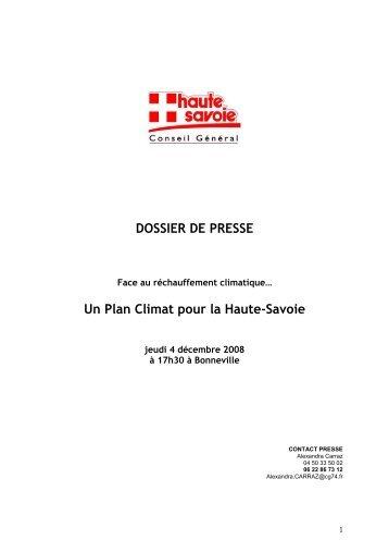 DOSSIER DE PRESSE Un Plan Climat pour la Haute-Savoie
