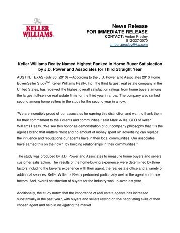 News Release - Keller Williams Realty