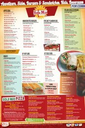 Appetizers, Sides, Burgers & Sandwiches, Kids, Beverages