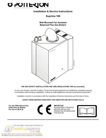 Worcester 12 Installation And Servicing Instructions