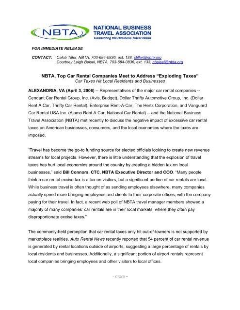 NBTA, Top Car Rental Companies Meet to Address 'Exploding Taxes'