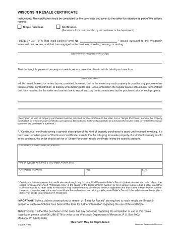 wisconsin resale certificate fill in form - Denmar.impulsar.co