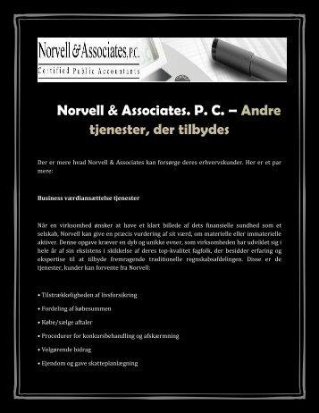 Norvell & Associates. P. C. – Andre tjenester, der tilbydes