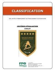 Critères d'évaluation pour chalets - Tourisme Québec