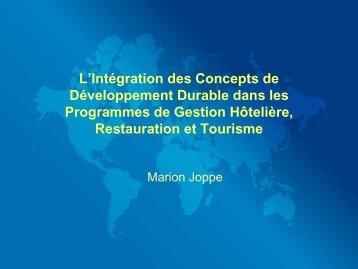 L'Intégration des Concepts de Développement Durable dans les ...