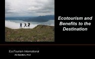 Ecotourism and Benefits to the Destination