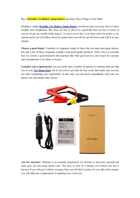 Buy A Portable Car Battery Jump Starter And Keep These Things In
