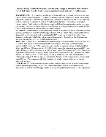 Clinical Efficacy and Effectiveness of Antiretroviral Therapy in ...