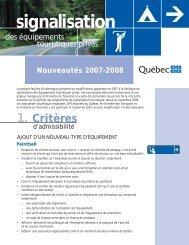 Nouveautés 2007-2008 - Tourisme Québec