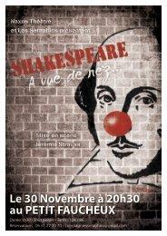 Le 30 Novembre à 20h30 au PETIT FAUCHEUX - Tours