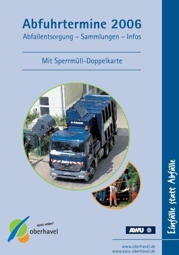 Abfuhrtermine 2006 - Landkreis Oberhavel