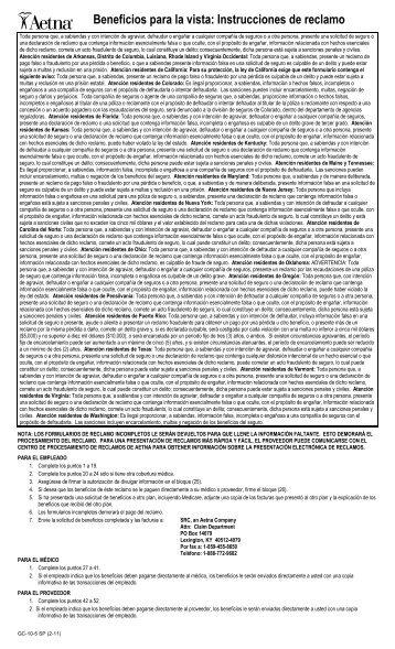 6bbeneficios para la vista: Instrucciones de reclamo