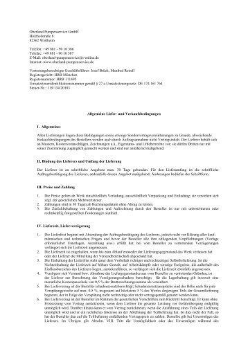 Oberland Pumpenservice GmbH Holzhofstraße 8 82362 Weilheim ...