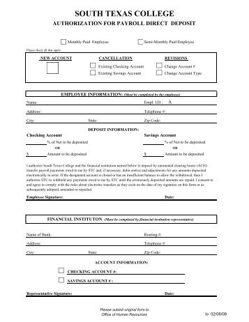 Direct Deposit Enrollment Form State