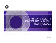 PRIVATE EQUITY INVESTING IN CLEAN TECHNOLOGY