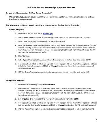 Tax Return: An Irs Tax Return Transcript