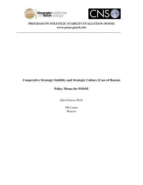 POSSE VI Fetisova Policy Memo - Program on Strategic Stability ...