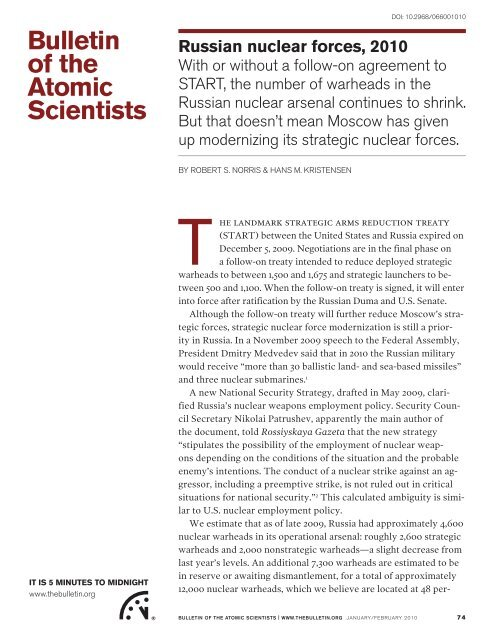 Russian nuclear forces, 2010.pdf - Program on Strategic Stability ...