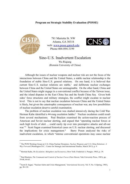 Wu Sino US Inadvertent Escalation - Program on Strategic Stability ...