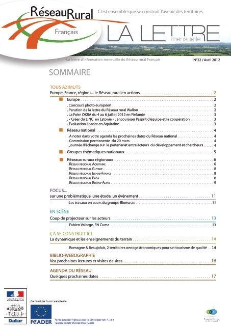 La lettre d'information n° 22 du RRF - Réseau Rural Français