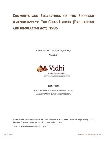 VCLP_Suggestions and Comments on the proposed amendments to the Child Labour (Prohibition and Regulation) Act