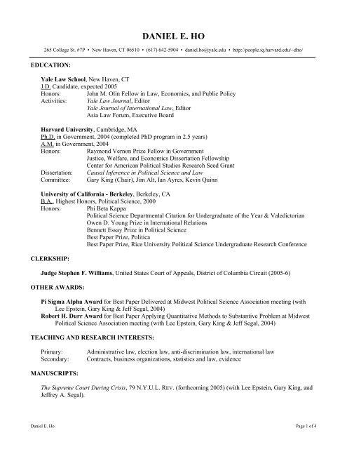 Curriculum Vitae For Daniel E Ho Harvard University