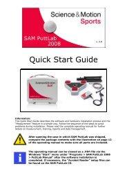 SAM PuttLab 2008 Quick-Start-Guide - Science & Motion Golf