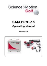 SAM PuttLab Operating Manual - Science & Motion Golf