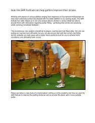 How the SAM software can help golfers improve their stroke