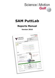 SAM PuttLab 2010 - Reports Manual - Science & Motion Golf