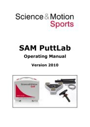 SAM PuttLab 2010 Operating Manual - Science & Motion Golf