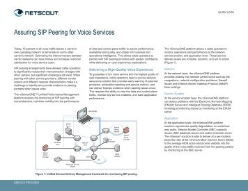 Assuring SIP Peering for Voice Services - NetScout