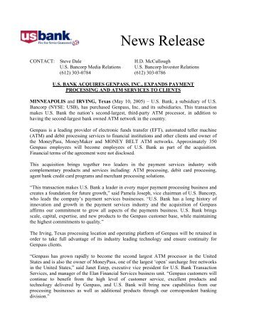 News Release - US Bank