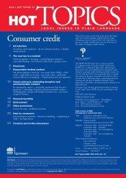Hot Topics 72 - Consumer credit - Legal Information Access Centre