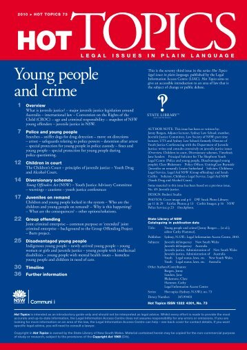 Young people and crime - Legal Information Access Centre - NSW ...