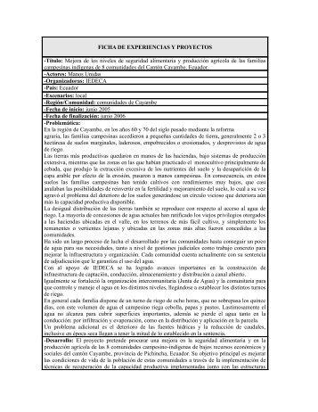 FICHA DE EXPERIENCIAS Y PROYECTOS -Título: Mejora ... - IEPALA