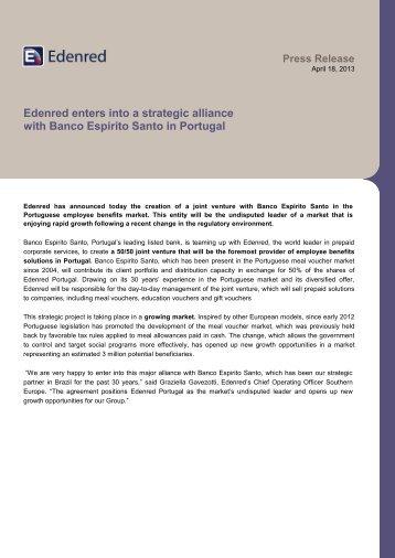 Edenred enters into a strategic alliance with Banco Espirito Santo in ...